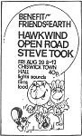 Steve opens for Hawkwind and Open Road at Chiswick Town Hall, Friday 20th August 1971